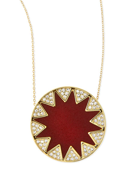 Sunburst Medium Pavé Pendant Necklace, Cranberry