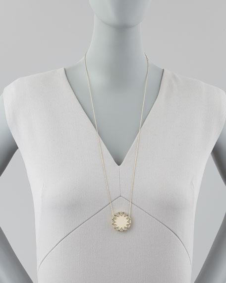 Sunburst Medium Pavé Pendant Necklace, Cream