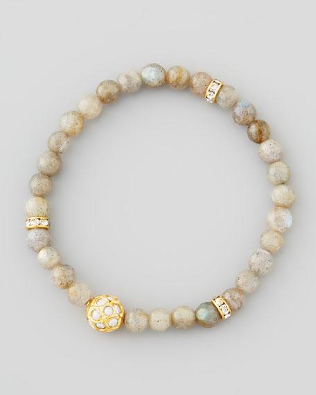 Sada Bead & Crystal Stretch Bracelet, Labradorite