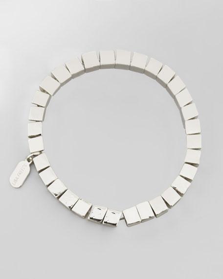 Rome Rhodium Square-Bead Bracelet