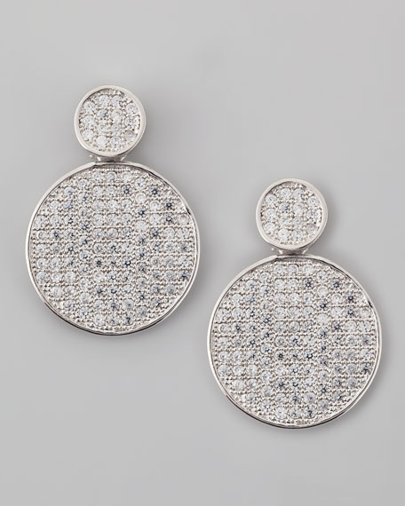 Pave Disc Drop Earrings, Rhodium