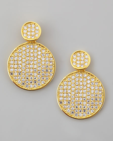 Pave Disc Drop Earrings, Gold
