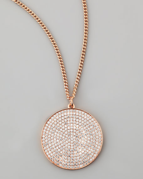 Rose Golden Pave Disc Necklace