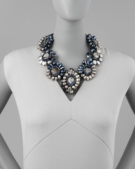 Crystal-Flower Statement Necklace
