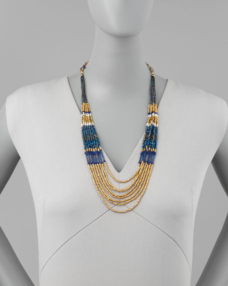 Layered Beaded Tier Necklace, Blue/Gold