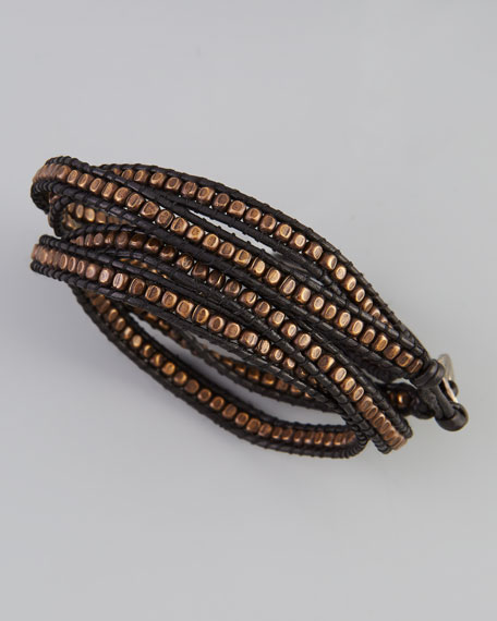 Beaded Wrap Bracelet, Black/Gunmetal