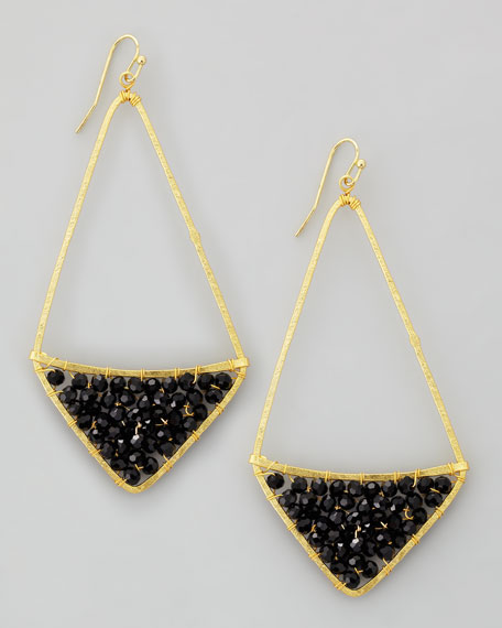 Crystal-Fill Drop Earrings, Black/Gold