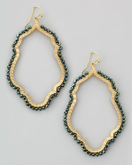 Bead-Wrapped Hoop Earrings, Green Multi