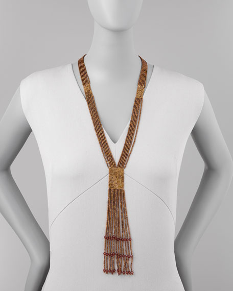 Bronze-Beaded Tassel Necklace