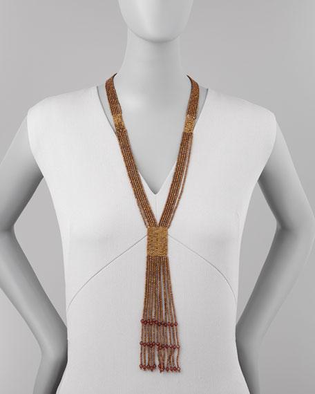 Bronze-Beaded Tassel Necklace