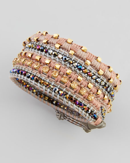 Two-Tone Multi-Bead Wrap Bracelet, Gold/Gray