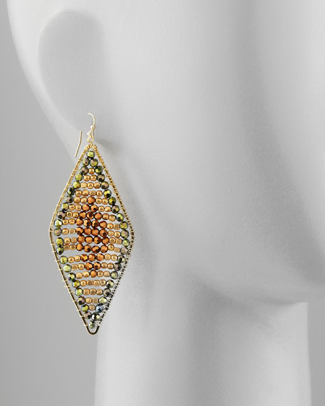 Beaded Diamond Hoop Earrings, Green Multi