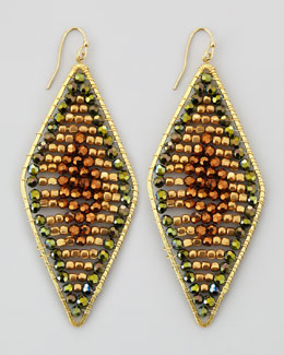 Nakamol Beaded Diamond Hoop Earrings, Green Multi