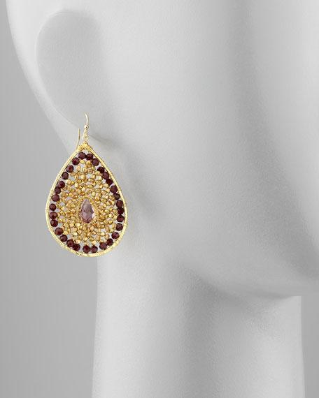 Bead-Center Filled Drop Earrings, Black/Gold/Purple