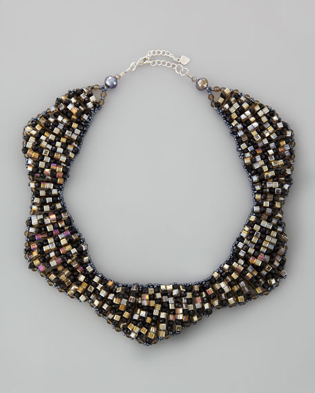 Checkered Crystal Bib Necklace
