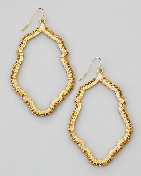 Bead-Wrapped Hoop Earrings, Gold