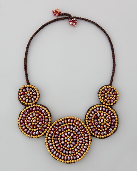 Braided Crystal Disc Necklace, Bordeaux/Gold