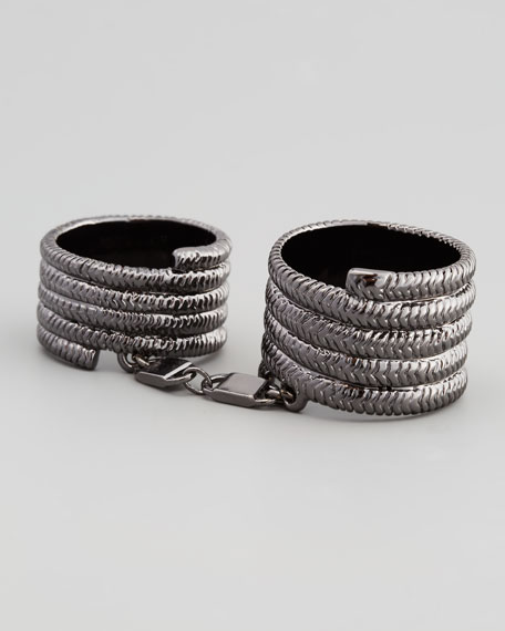 Doubled Coiled Snake Ring, Rhodium