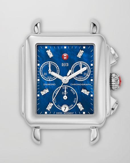 Deco 18 Diamond Blue Dial Watch Head, Steel