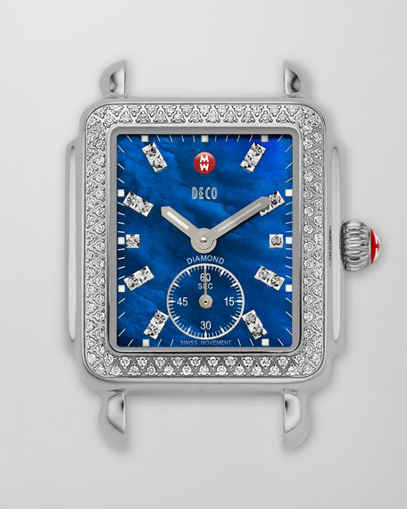 Deco 126-Diamond Chronograph Watch Head, Blue