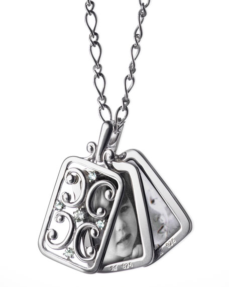 Rectangular Gate Locket with White Sapphires