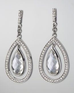 Monica Rich Kosann Sapphire-Trim Rock Crystal Teardrop Earrings