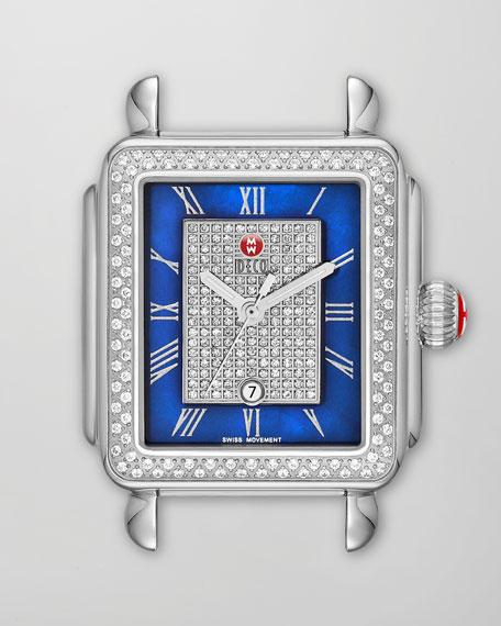 Deco Diamond Watch Head, Blue/Steel