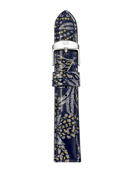 20mm Paisley Patent Watch Strap, Light Gray