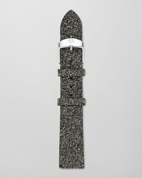 16mm Crystal-Covered Leather Strap, Black/Gold
