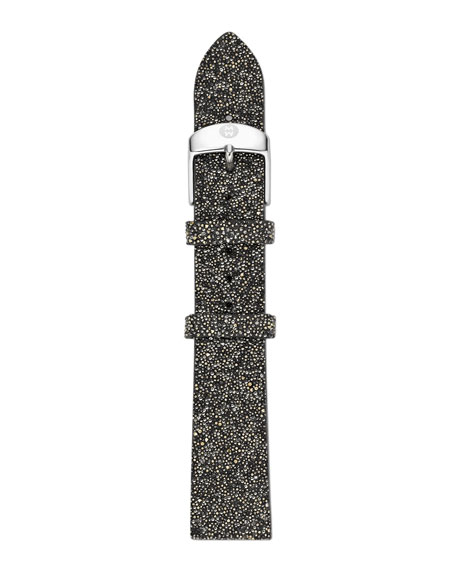 18mm Crystal-Covered Leather Strap, Black/Gold