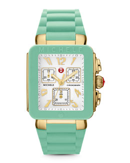 MICHELE Park Jelly Bean Watch, Seafoam/Yellow Golden