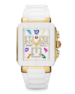 MICHELE Park Jelly Bean Carousel Watch, White/Yellow Golden