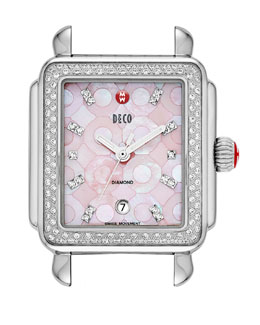 MICHELE Deco Diamond Mosaic Stainless Steel Watch Head, Pink