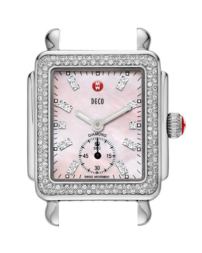 MICHELE Deco 16 Diamond Mosaic Stainless Steel Watch Head, Pink