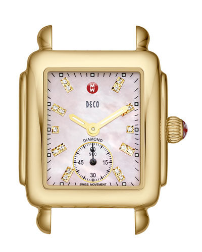 MICHELE Deco 16 Diamond 18k Yellow Gold Watch Head, Pink