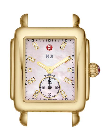 Deco 16 Diamond 18k Yellow Gold Watch Head, Pink