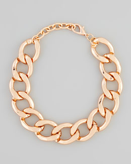 Kenneth Jay Lane Rose Golden Chain Link Necklace
