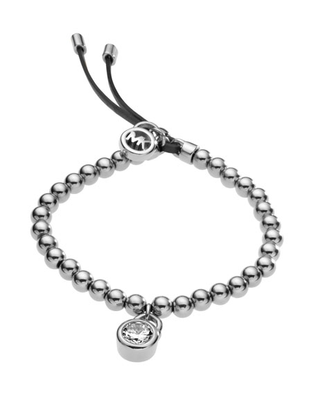 Bead Stretch Bracelet, Silver Color