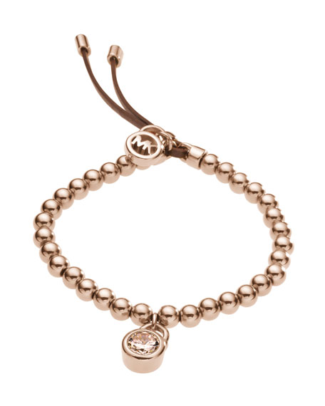 Bead Stretch Bracelet, Rose Golden