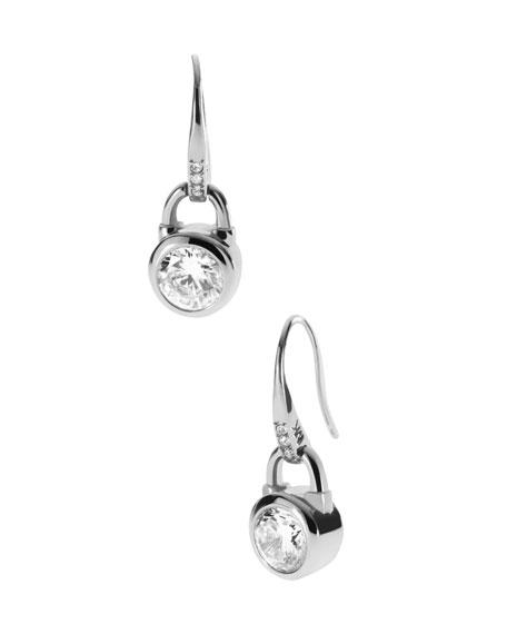 Lock Drop Earrings, Silver Color
