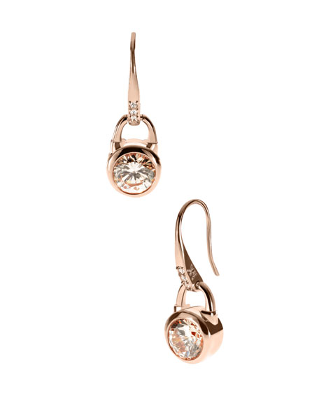 Lock Drop Earrings, Rose Golden
