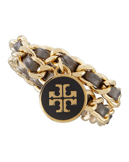 Tory Burch Metallic Leather & Chain Bracelet, Black