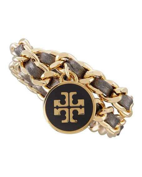 Metallic Leather & Chain Bracelet, Black