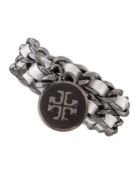Metallic Leather & Chain Bracelet, Silver