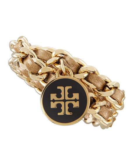 Metallic Leather & Chain Bracelet, Gold