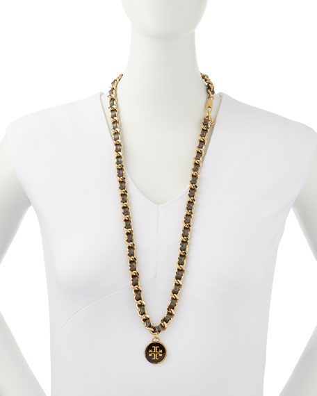 Leather Woven Chain Necklace, Black/Golden
