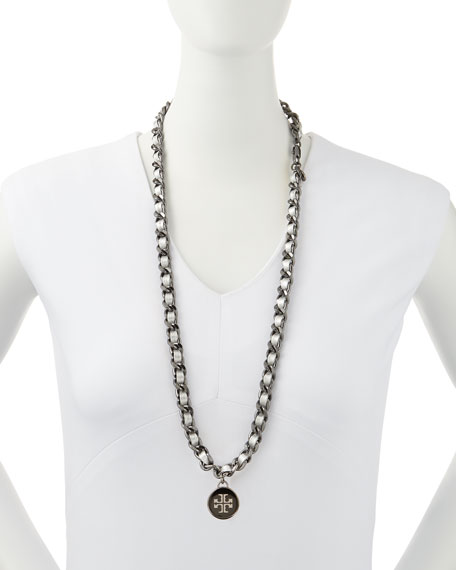 Leather Woven Chain Necklace, Silver/Gunmetal