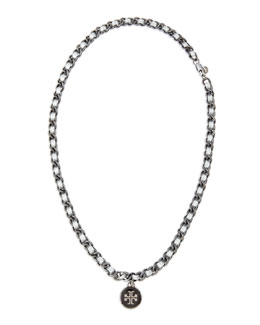 Tory Burch Leather Woven Chain Necklace, Silver/Gunmetal