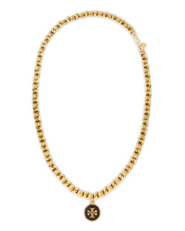 Tory Burch Leather Woven Chain Necklace, Gold/Golden