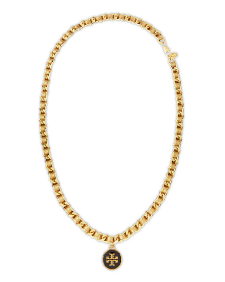 Leather Woven Chain Necklace, Gold/Golden